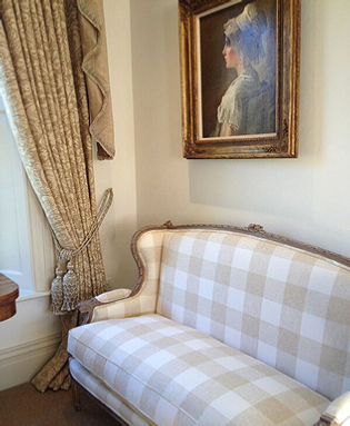 Cranbrook-Interiors-plaid-upholstered-love-seat
